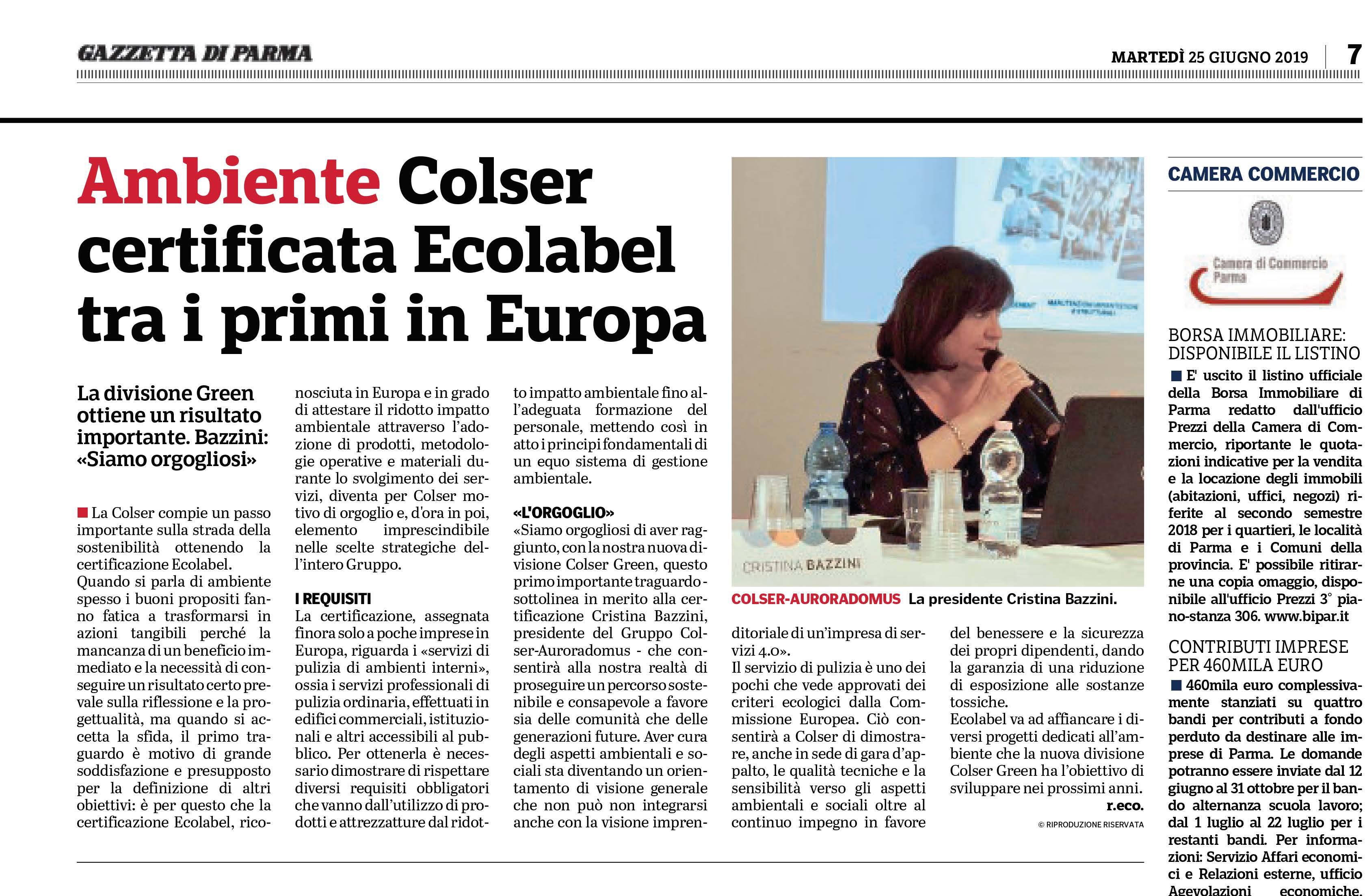 COLSER Green - certificata EU ECOLABEL tra i primi in Europa