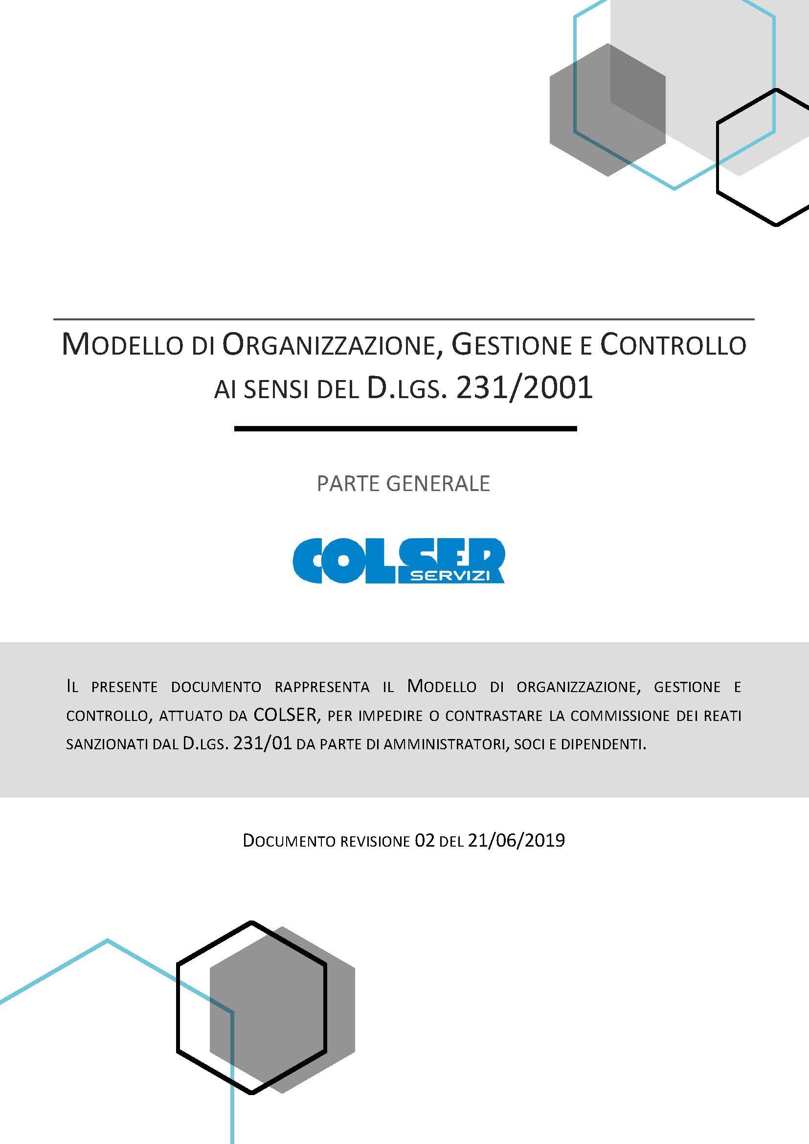 Modello di Organizzazione, Gestione e Controllo - 2019