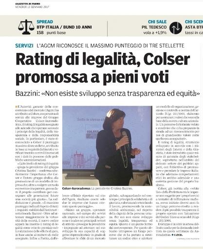 A COLSER il Rating di Legalità a tre stelle (Gazzetta di Parma, gennaio 2017)