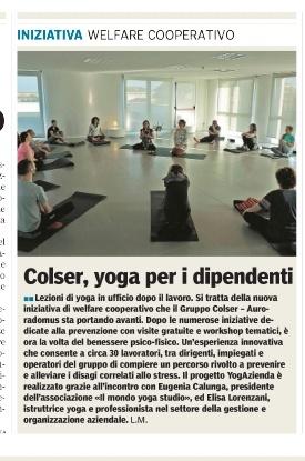 Welfare: Yoga in azienda (Gazzetta di Parma, aprile 2017)