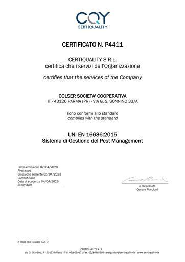 PEST MANAGEMENT | UNI EN 16636:2015