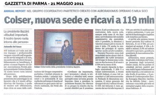 Presentazione primo Annual Report di Gruppo (Gazzetta di Parma, maggio 2011)
