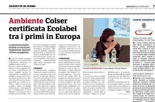 COLSER Green certificata EU ECOLABEL tra i primi in Europa