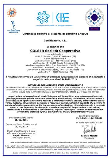 RESPONSABILITÀ SOCIALE D'IMPRESA | SA8000