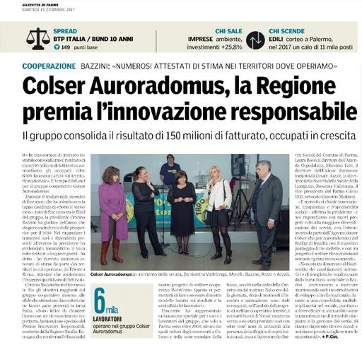 Responsabilità sociale e innovazione: premiata Colser - Auroradomus